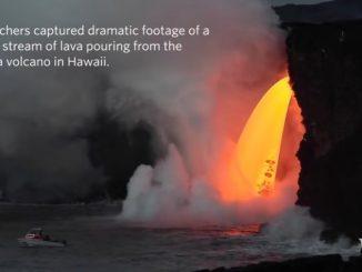 溶岩が滝のように流れるハワイ島・キラウェア火山