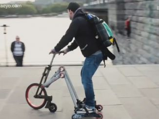キックボードとローラースケートが一体になったような乗り物「Aeyo」