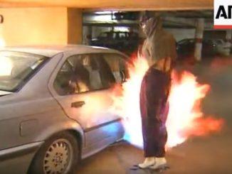 自動車強盗犯に火柱を浴びせる斬新な防犯システム