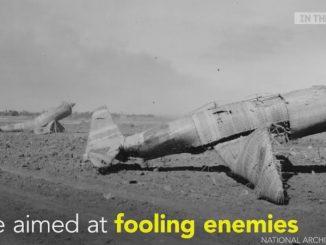 戦時中に藁で作られたフェイク戦闘機