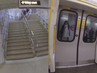 電車を降りて階段を猛ダッシュ!電車は扉が閉まり、発車寸前