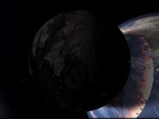 地球の約半分の大きさの隕石を地球に衝突させるシミュレーション